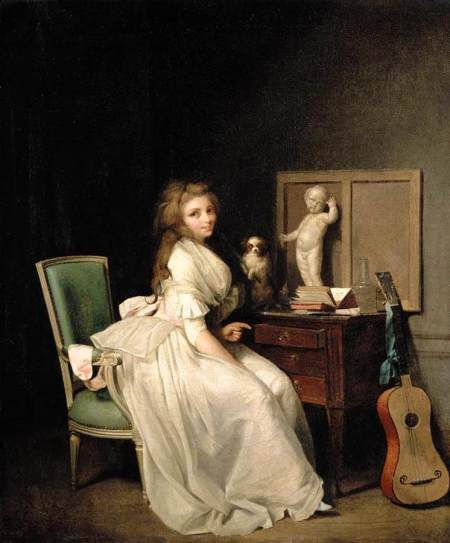 Boilly 1785 lady-in-a-white-dress-seated-at-her-desk 46x 39 cm coll priv