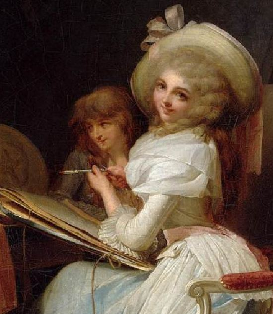 boilly La Moquerie_la peintre_detail