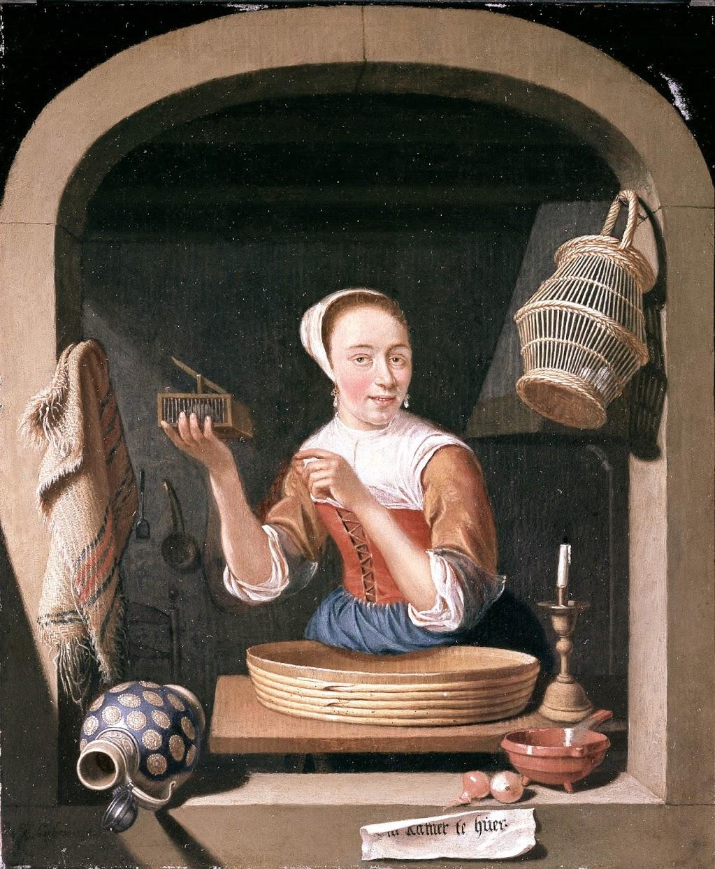 Abraham Snaphaen, 1682 Fille avec une souriciere , Museum De Lakenhal Leyde
