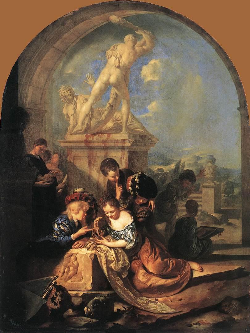 Adriaen van der Werff 1687 Children Playing before a Hercules Group Alte Pinakothek, Munich