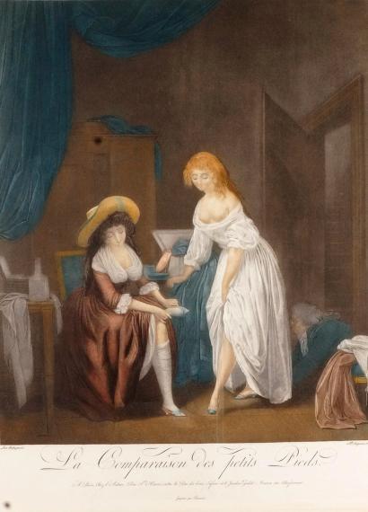 Alexandre CHAPONNIER (1753-1806) d apres Louis Léopold BOILLY LA COMPARAISON DES PETITS PIEDS Aquatinte