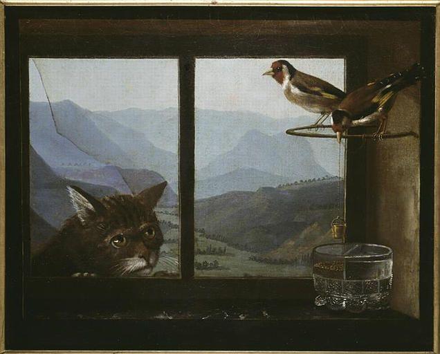 Anonyme, LE CHAT ET LES CHARDONNERETS, 1ere moitie 19e siecle, Rouen ; musee des beaux-arts