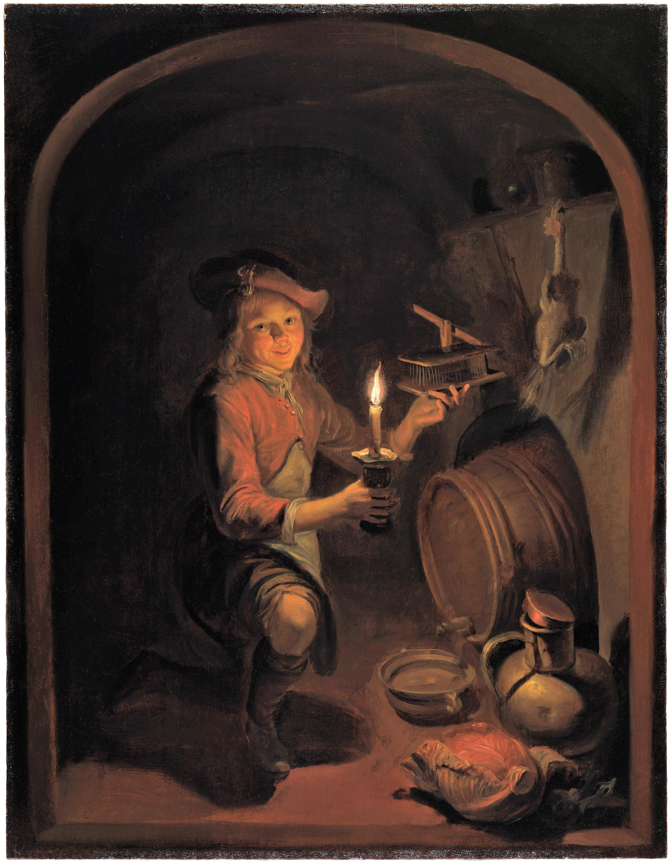 Dominicus_van_Tol-A_Boy_with_a_Mousetrap_by_Candlelight-1664–65