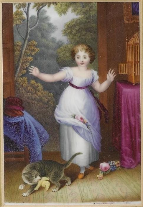English porcelaine plaque S Woodhouse  1839