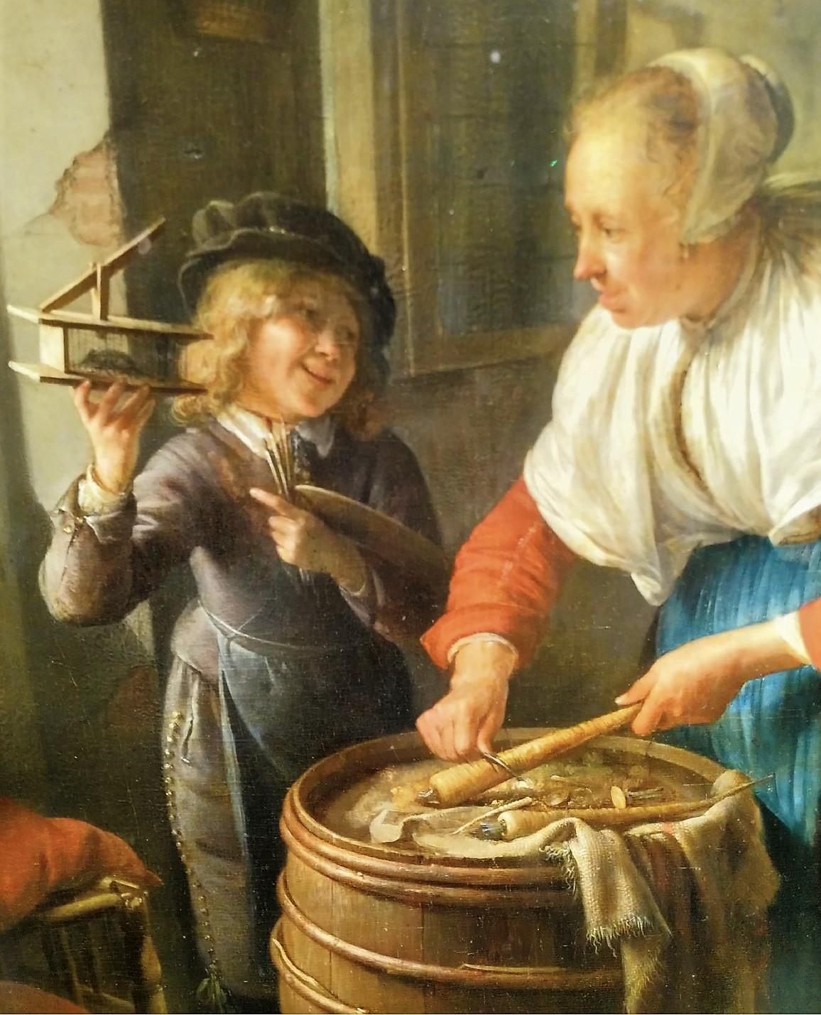 Gerrit Dou-La souriciere ca 1650 Musee Fabre detail