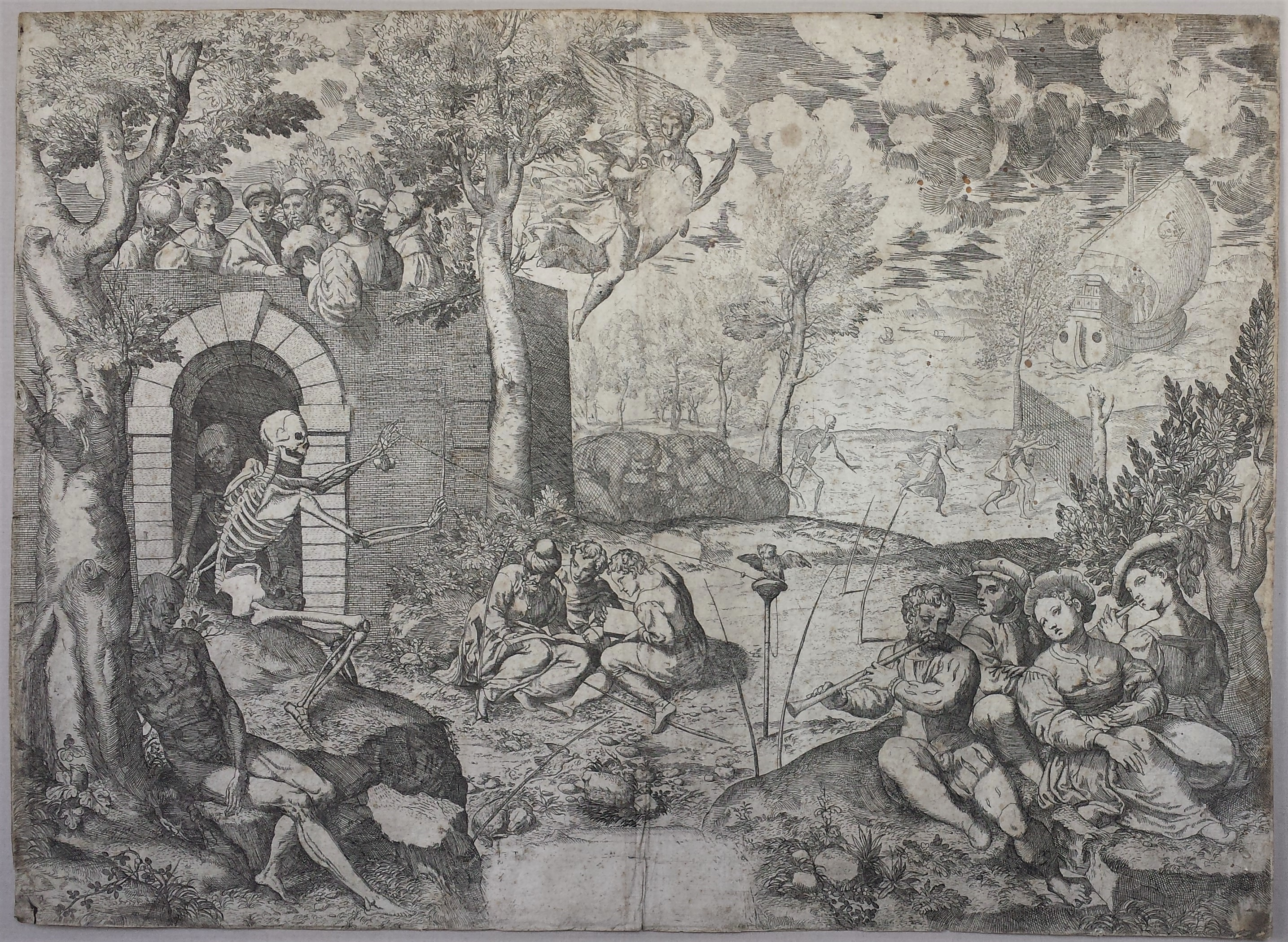 Giovanni Paolo Cimerlini, The Aviary of Death 1568, etching Blanton Museum of Art, the University of Texas at Austin