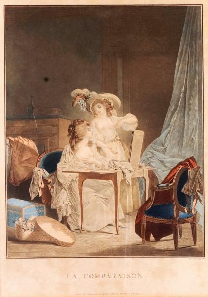 Jean-François JANINET d'après Nicolas LAVREINCE LA COMPARAISON, 1786 Aquatinte