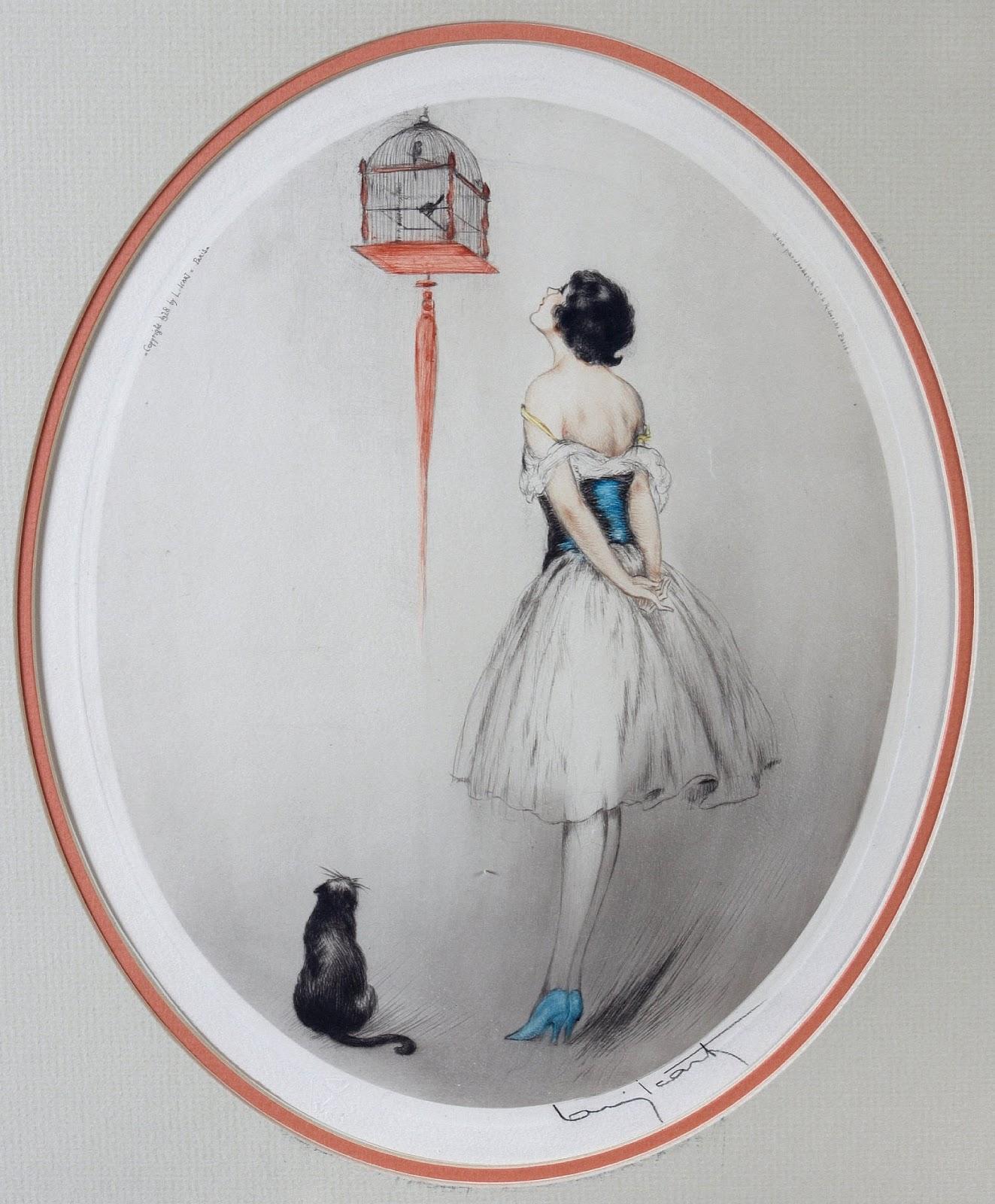 Louis Icart-Femme a la cage