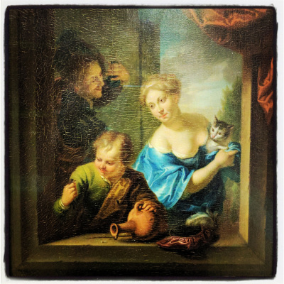 Louis de Moni 1725-71 Couple et enfant apparaissant à une fenetre Louvre