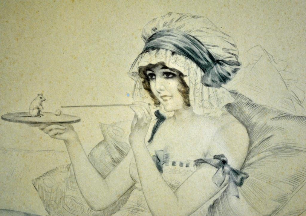 MAURICE MILLIERE ETCHING - BEAUTY WITH MOUSE detail