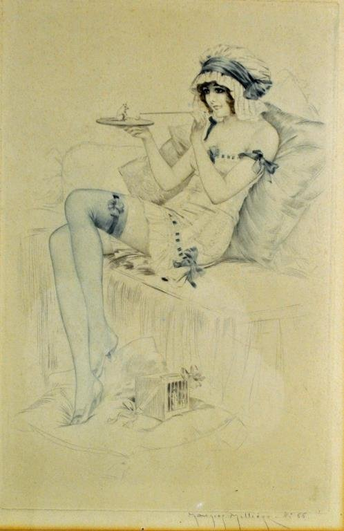 MAURICE MILLIERE ETCHING - BEAUTY WITH MOUSE