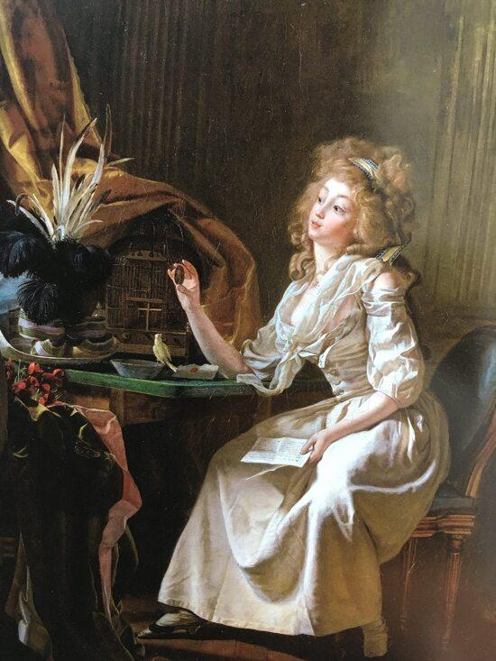 Michel Garnier 1789 Une femme venant de recevoir le portrait de son mari, le prrsente à la place qu'elle lui destine 47 x 39 cm