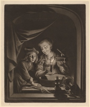 Nicolaas Verkolje after Gerrit Dou, Maid with a Mousetrap Mezzotint National Gallery of Art, Washington D.C