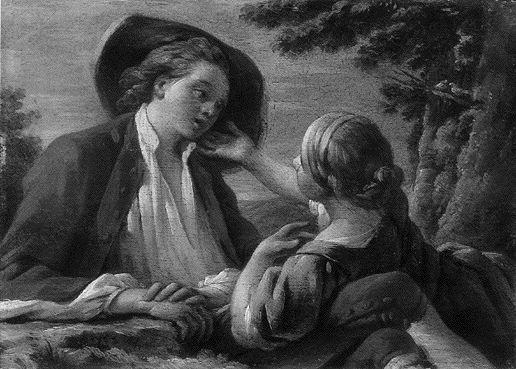 Une Bergère qui flatte de la Main un jeune Berger - Hallé 1753