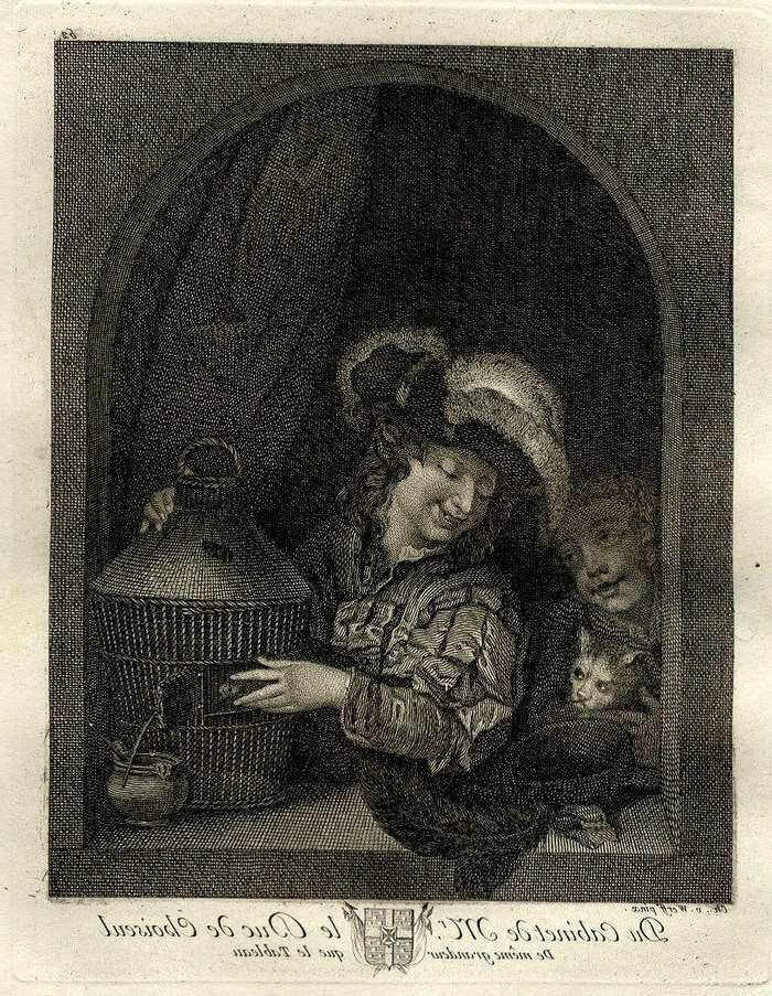 Van der Werff Un garçon mettant un oiseau en cage