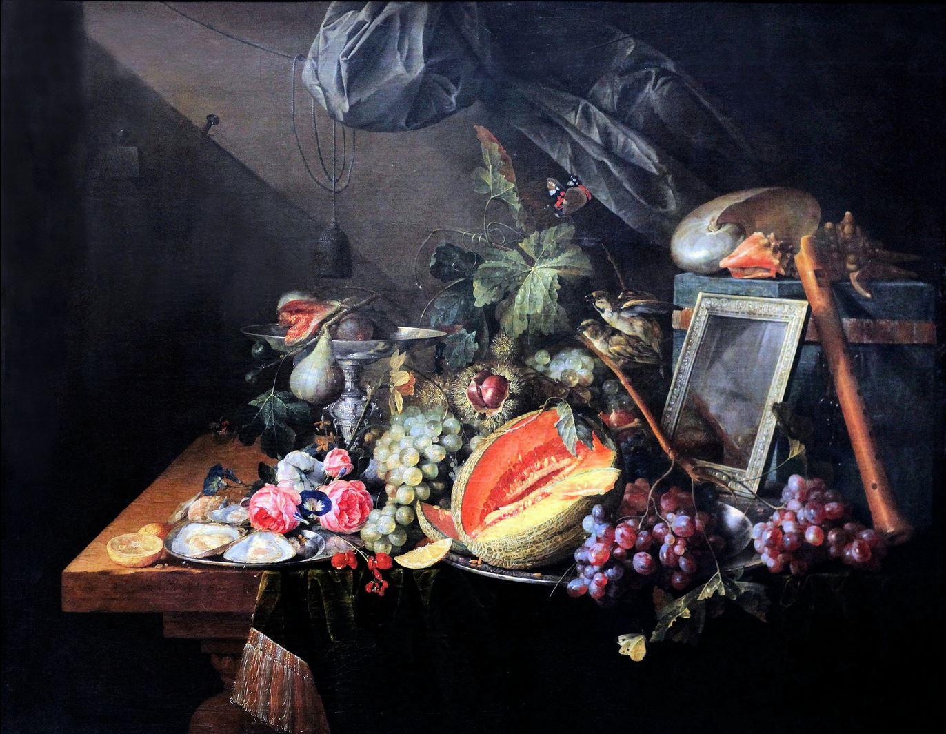 1657_de_Heem_Nature morte avec moineaux copulant Stadel Frankfort