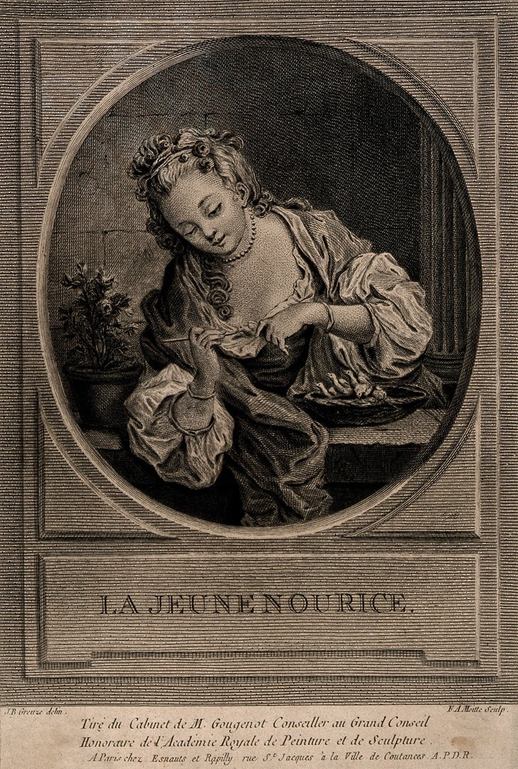A_woman_feeding_a_nest_of_baby_birds._Engraving_by_F.A._Moilte