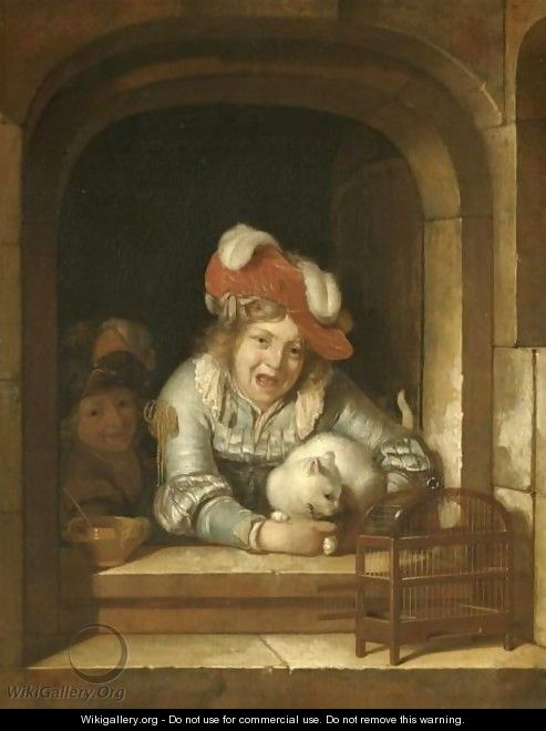 Adriaen Van Der Werff Two Children Playing With A Cat Holding A Bird In Its Jaws