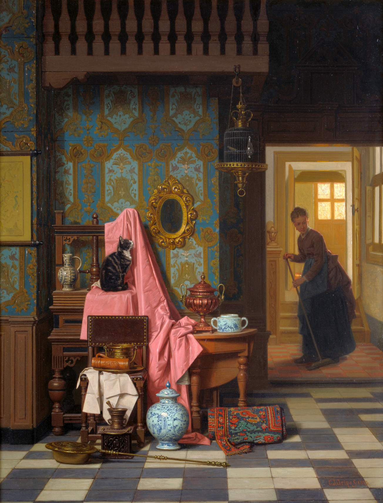 Charles Joseph Grips. (Dutch, 1825-1920) Opportunity Makes a Thief 1875
