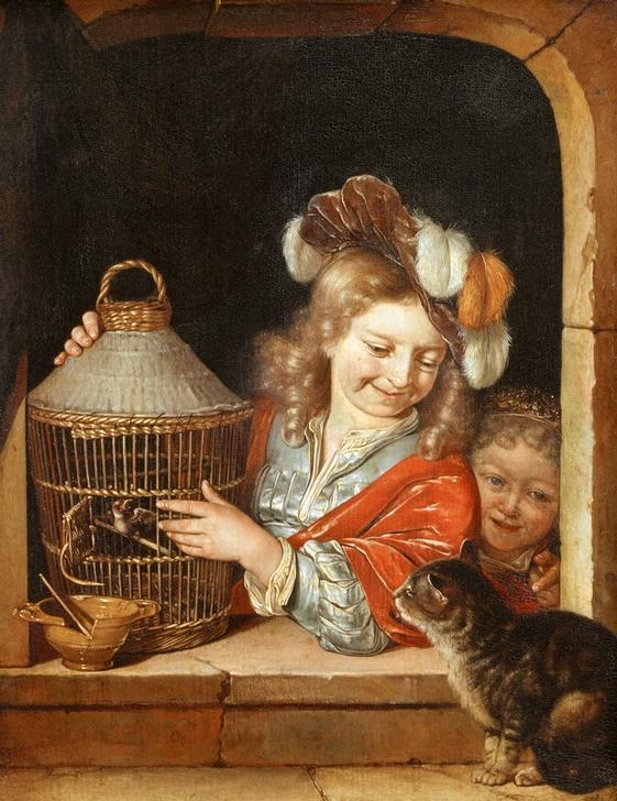 Children with Birdcage and Cat / E. H. v. d. Neer / Painting