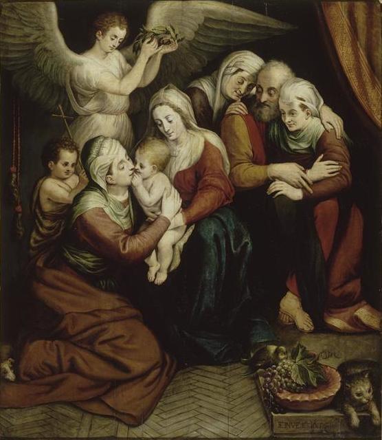 Frans FLORISLa Sainte Famille avec sainte Anne, sainte Élisabeth et le petit saint Jean-Baptiste