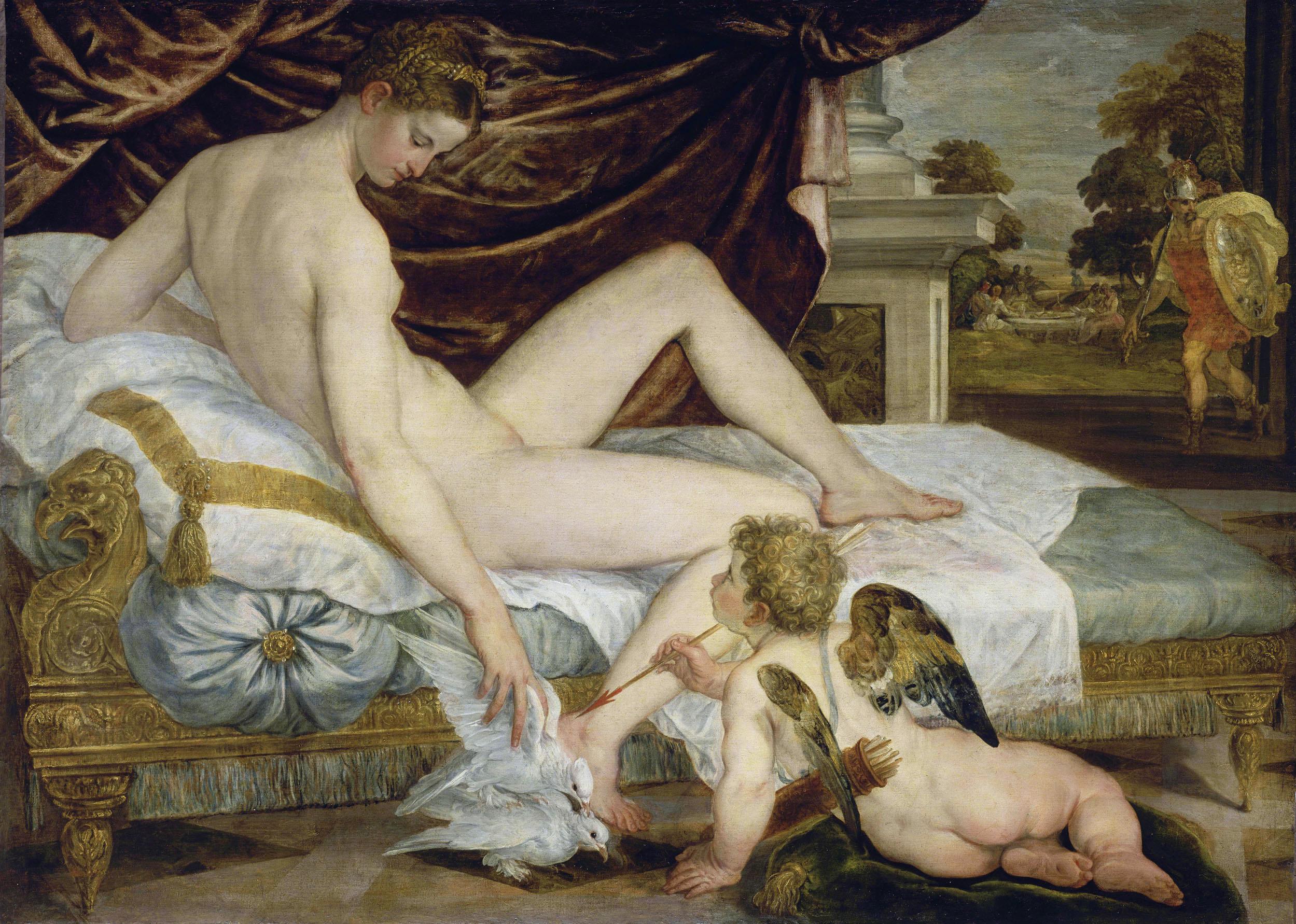 Lambert Sustris Venus et amour attendant Mars