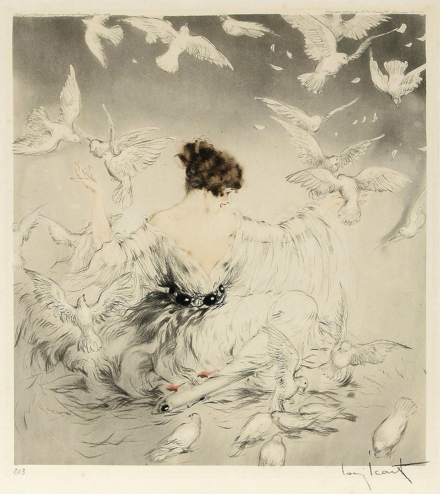 Louis Icart femme aux oiseaux