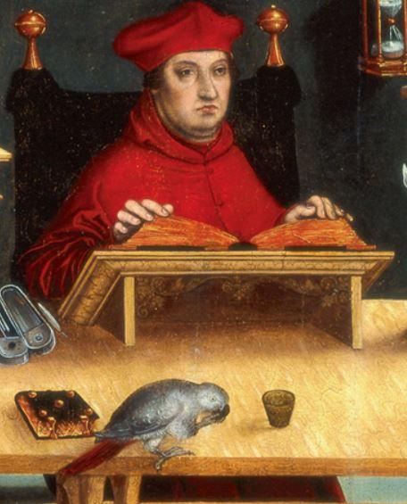 Lucas Cranach l ancien, Cardinal Albrecht von Brandenburg en Saint Jerome dans son Etude,1526, John and Mable Ringling Museum of Art, Sarasota, US detail
