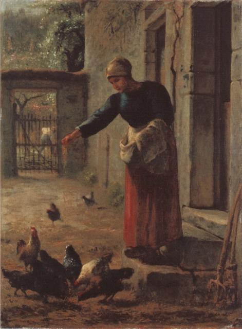 Millet La provende des poules 1853-56 Kofu Yamanashi Prefectoral museum