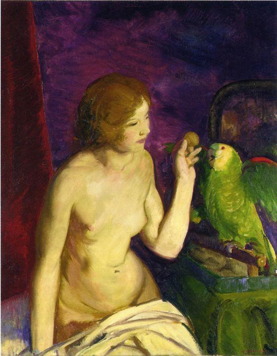 Nu au perroquet, George Bellows, 1915, Collection privee