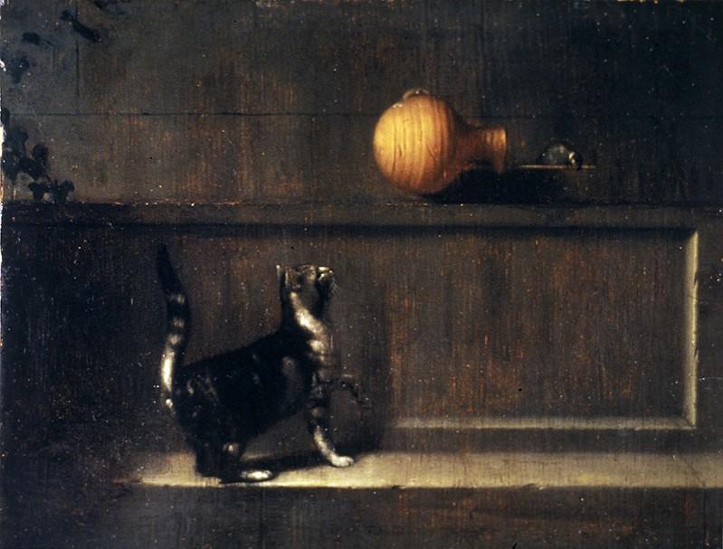 Pieter van Slingelandt Chat guettant un oiseau fin XVIIeme Musee des BA Rennes
