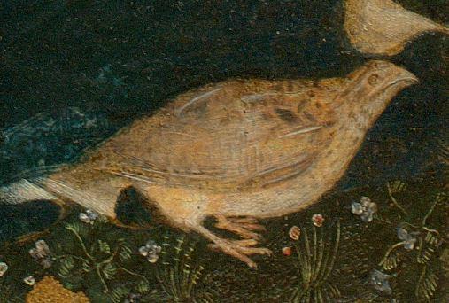 Pisanello_1455_Madonna_della_quaglia_Castelvecchio_Verona detail caille