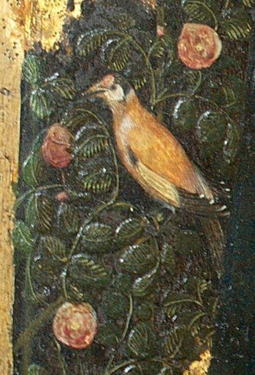 Pisanello_1455_Madonna_della_quaglia_Castelvecchio_Verona detail chardonneret 1