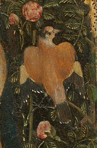 Pisanello_1455_Madonna_della_quaglia_Castelvecchio_Verona detail chardonneret 2