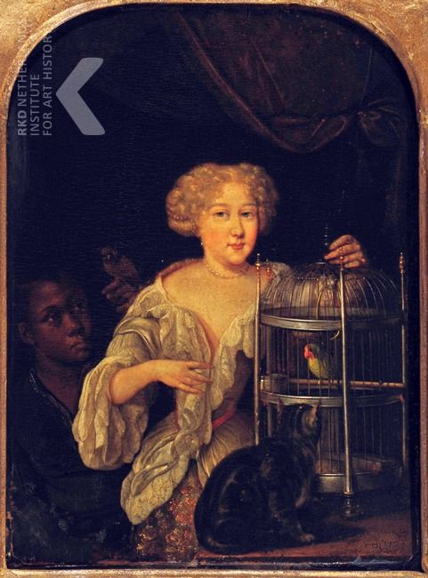 Portrait-dune-femme-inconnue-avec-un-serviteur-Eglon-van-der-Neer-ca.-1677-1683-Museum-Kunsthaus-Heylshof-Worms