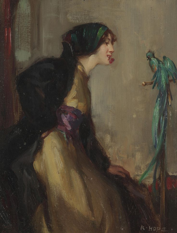 Robert Hope Lady with an exotic bird