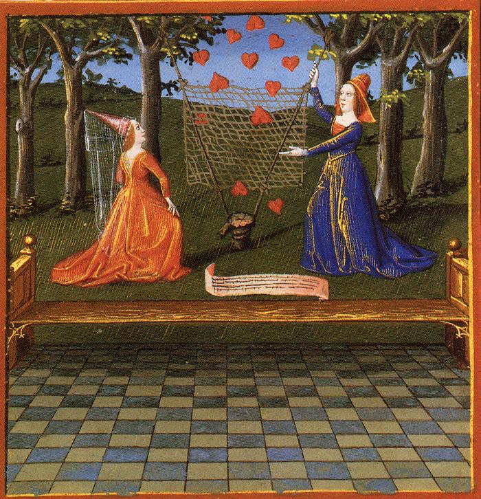 Visage Aimable et Courtoises manieres tendent leur filet pour attraper les coeurs instables ; Le Coeur d'amour epris Heloise et Abelard