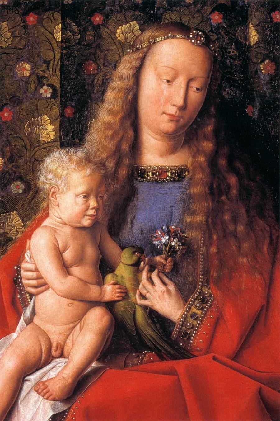 van-eyck-kanonikus-van-der-paele-madonna-christuskind-papagei