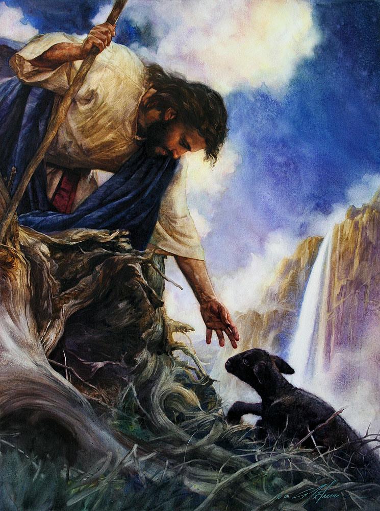 Shepherd Rescuing Lamb