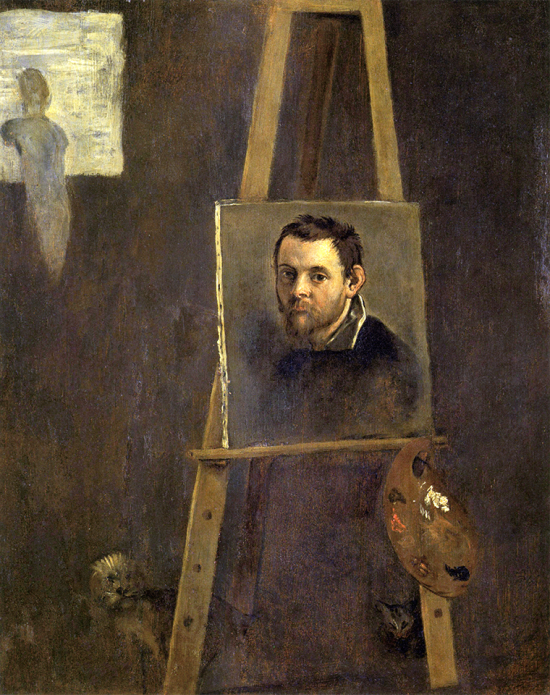 ANNIBALE CARRACCI Self-Portrait on an Easel in a Workshop 1604 Galerie des Offices, Florence