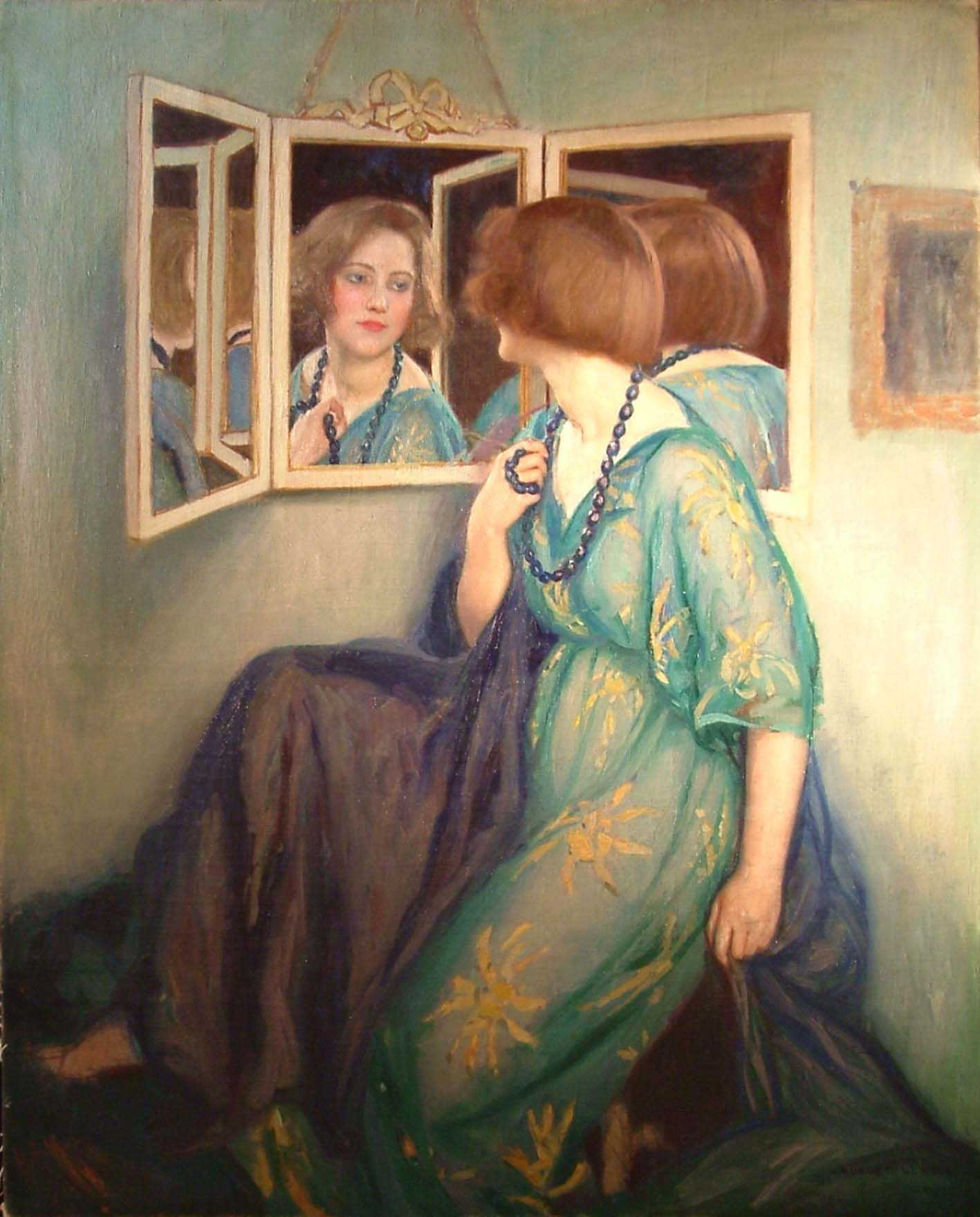 Auguste leroux vers 1929 elegante en robe bleue assise et ses reflets dans le miroir coll part