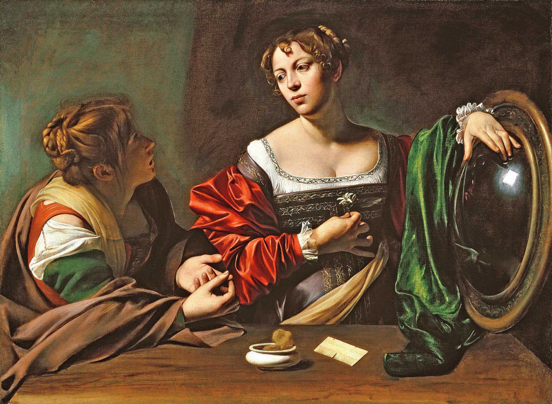 Caravaggio-Martha-and-Mary-Magdalene-1598,  Detroit Institute of Arts