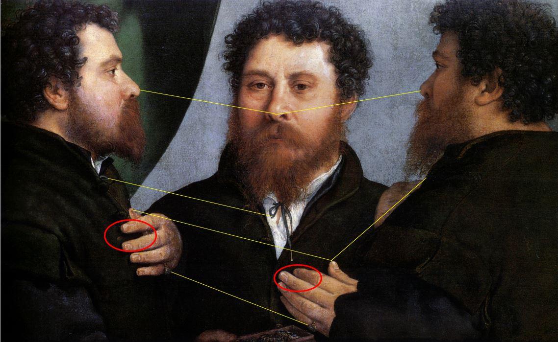 Lorenzo_Lotto_Triple portait d'un orfevre 1530 Kunsthistorisches Museum Vienne schema