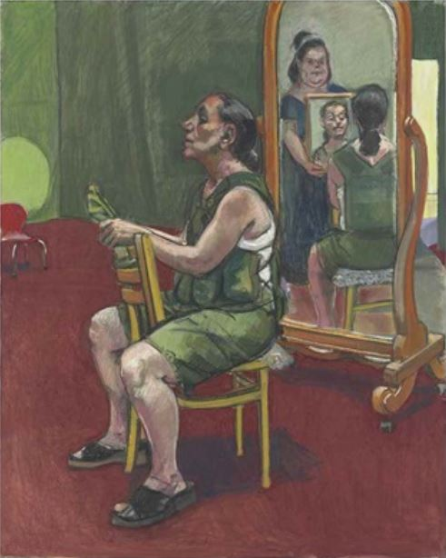 Paula Rego, Border Patrol Self-portrait with Lila, Reflection and Ana , 2004, coll part