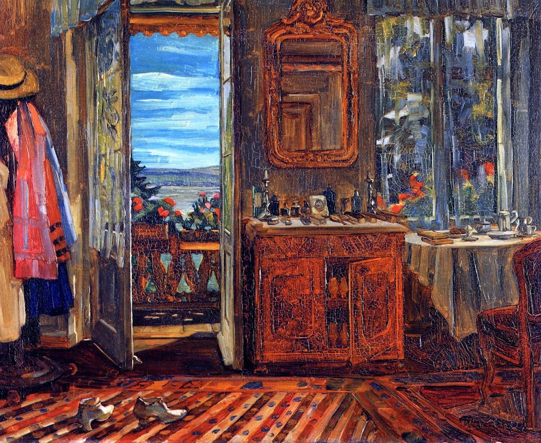 Truebner, Heinrich Wilhelm Balkonzimmer-Interieur am Starmberger See opened window 1912 Germanisches-Nationalmuseum,-Nuremberg