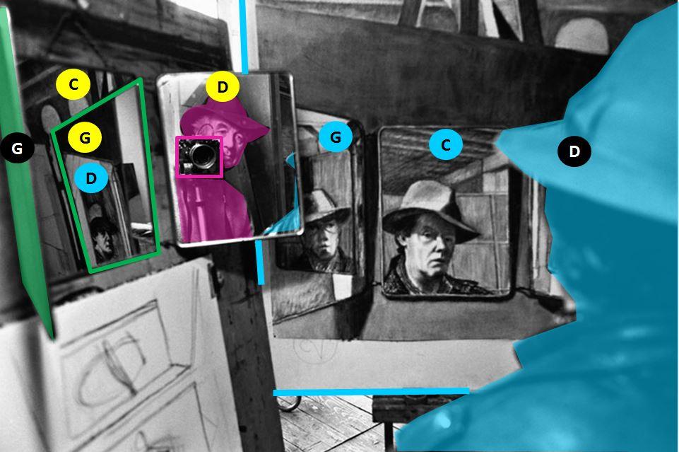 autoportrait-de-rene-burri dans-un-miroir-peintures-philippe-pradalier 2000 schema