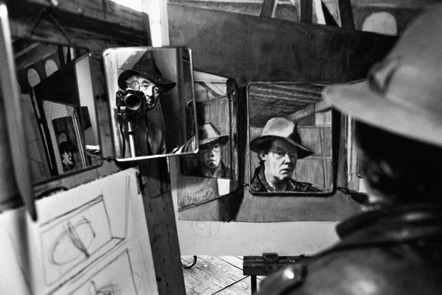 autoportrait-de-rene-burri dans-un-miroir-peintures-philippe-pradalier 2000