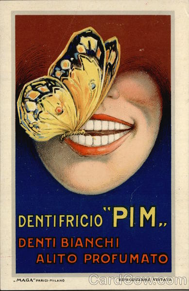 Butterfly on Shining White Teeth Advert Toothpaste
