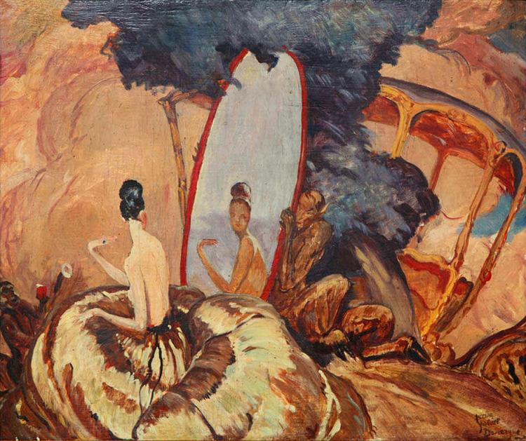 Eve Looking in the Mirror, circa 1920. jean gabriel domergue