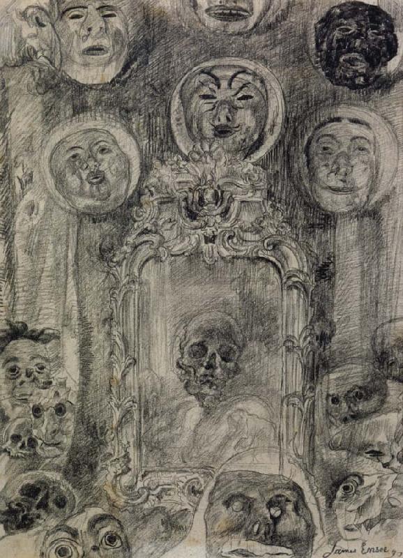 James Ensor-Miroir au squelette 1890 Collection privee